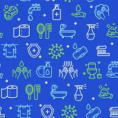 Hygiene Signs Seamless Pattern Background On A Blue For Web And App Design Include Of Antiseptic Gel poster