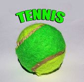 Green and Yellow Tennis Ball with Graphic Letters on White Background