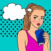Pretty Girl With Paper Cup. Flirting Pretty Young Lady Drinking Coffee Pop Art Vector Illustration poster