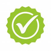 Tick Sign Element. Green Checkmark Icon Isolated On White Background. Simple Mark Graphic Design. Ci poster