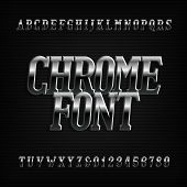 Chrome Effect Alphabet Font. Metal Oblique Letters, Numbers And Symbols. Stock Vector Typeset For Yo poster