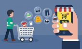 Mobile Online Store Concept . Shopping Online With Goods Icons Transfer. Man And Cart At Supermarket poster