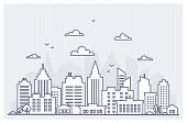 Thin Line City Landscape. Downtown Landscape With High Skyscrapers. Panorama Architecture City Lands poster