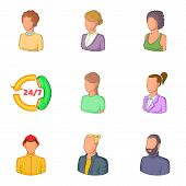 Personal Profile Icons Set. Cartoon Set Of 9 Personal Profile Vector Icons For Web Isolated On White poster