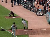 Giants Matt Cain Releases Throw To Catcher Buster Posey During Bullpen Warm-up Session