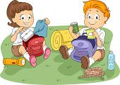 Illustration of Kids Unpacking their Belongings