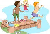 Illustration of Kids Swimming