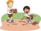 Illustration of Kids Gathering Firewood