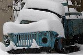 Battered Old Car Abandoned Covered With Snow In Winter. Parked Car In Snow And Ice.  Snow And Winter poster
