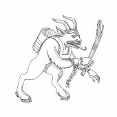 Постер, плакат: Doodle Art Illustration Of A Krampus A Horned Anthropomorphic Figure That Is Half goat Half demon