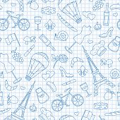 Seamless Pattern On The Theme Of Travel In The Country Of France, Simple Contour Icons , Blue  Conto poster