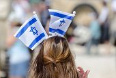 The Patriotic Girl With Israeli Flag On His Head Celebrate Israel Independence Day poster