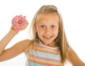 Young Beautiful Happy And Excited Blond Girl 8 Or 9 Years Old Holding Donut On Her Hand Looking Spas poster