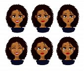 Face Expressions Of African American Woman With Dark Hair. Different Female Emotions Set. Attractive poster