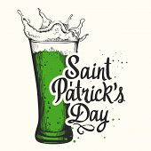 St. Patricks Day. Vector Illustration With Glass Of Beer And Congratulations In Sketch Style. Drink poster