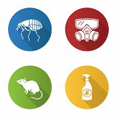 Pest Control Flat Design Long Shadow Glyph Icons Set. Insects Repellent, Flea, Respirator, Rodent. V poster