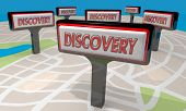 Discovery Sign Find New Discoveries Map 3d Illustration poster