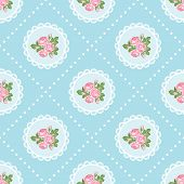 Shabby Chic Rose Seamless Pattern Background. Vector Illustartion. poster
