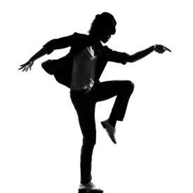 image of b-double  - full length silhouette of a young man dancer dancing funky hip hop r - JPG