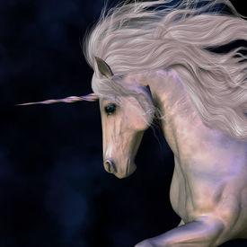picture of bucking bronco  - A white buck unicorn - JPG