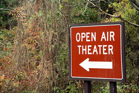 picture of matinee  - Sign leading to an old open air theater that is only open during the summer for plays - JPG