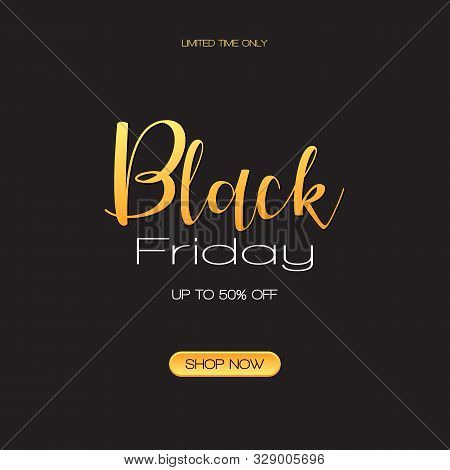 poster of Black Friday Sale Inscription Design Template.  Black Friday Super Sale Offer. Discount Offer Presen