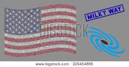 poster of Galaxy Icons Are Grouped Into American Flag Mosaic With Blue Rectangle Rubber Stamp Seal Of Milky Wa