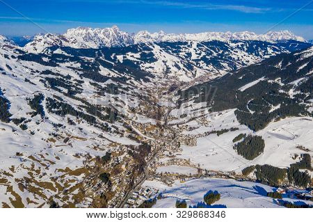 poster of Mountains Ski Resort Solden Austria - Nature And Ski Slopes By The Beautiful Winter Town. Trees Cove