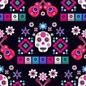 Mexican Seamless Pattern,sugar Skulls And Colorful Flowers. Template  For Mexican Celebration, Tradi poster