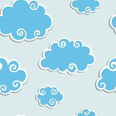 Blue Clouds with White Border. Seamless pattern