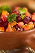 Pumpkin, Beetroot, Broccoli and Chickpea Salad