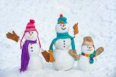 Winter Time Scene. Snowmen. Christmas Background With Snowman. Christmas Snowman Close Up With Scarf poster