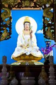 Quan Yin statue on altar.