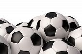 Heap Of Realistic Soccer Balls With Black And White Elements Isolated On White Background Closeup Vi poster