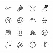 Sport Games, Ball Outline Icons Set - Black Symbol On White Background. Sport Games, Ball Simple Ill poster