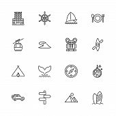 Vacation, Tourism, Travel Outline Icons Set - Black Symbol On White Background. Vacation, Tourism, T poster
