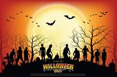 Crowd Of Hungry Zombies In The Woods. Silhouettes Of Scary Zombies Walking In The Forest At Night. S poster
