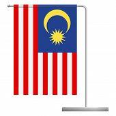 Malaysia Table Flag. Metal Flagpole. National Flag Of Malaysia Vector Illustration poster