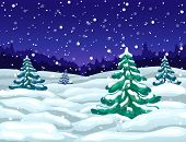 Vector Winter Wonderland Night Landscape With Snowfall And Snowy Fir Trees. Winter Snow Falling Scen poster