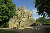 stock photo of hughes  - Knaresborough Castle is a ruined fortress overlooking the River Nidd in the town of Knaresborough North Yorkshire England - JPG