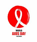 Hand Drawn Aids Ribbon In Red Circle. Design For World Aids Day.  Aids Awareness Ribbon. Illustratio poster