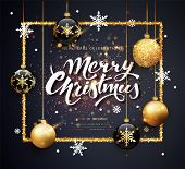 Merry Christmas Gold And Black Colors Greeting Card Web Banner Or Poster With Christmas Balls Gold G poster