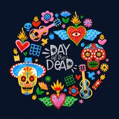 Day Of The Dead Greeting Card, Traditional Mexico Culture Icons In Colorful Watercolor Art Style. In poster