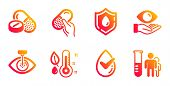 Blood Donation, Thermometer And Medical Drugs Line Icons Set. Health Eye, Dermatologically Tested An poster