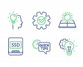 Idea, Sun Energy And Quick Tips Line Icons Set. Ssd, Cogwheel And Idea Gear Signs. Professional Job, poster