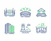 Lighthouse, Arena Stadium And Sports Arena Line Icons Set. Court Building, Skyscraper Buildings Sign poster