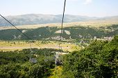 stock photo of ropeway  - Ropeway in mountain city Jermuk Armenia - JPG