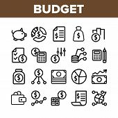 Budget Audit Collection Elements Icons Set Vector Thin Line. Dollar And Coin, Accounting Budget Repo poster