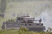 KIEV, UKRAINE -MAY 13:Red Star history club.German tank (replica) during historical reenactment of W