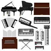 Keyboard Musical Instrument Vector Musician Equipment Piano Of Orchestra Synthesizer Accordion Class poster